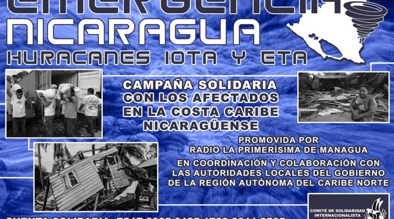 SOLIDARIDAD INTERNACIONALISTA CON NICARAGUA ARRASADA POR LOS HURACANES ETA Y IOTA