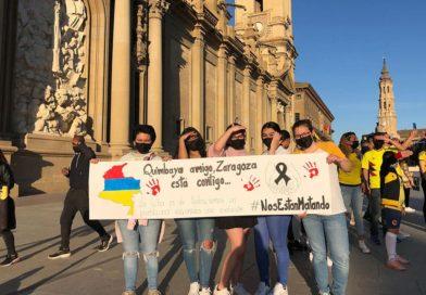 Marcha en Zaragoza en apoyo al pueblo de Colombia tras días de represión policial