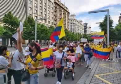 Multitudinaria protesta en Zaragoza contra la represión en Colombia: «Están matando a nuestros jóvenes»